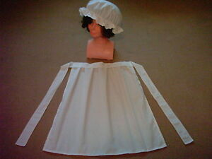 GIRLS VICTORIAN TUDOR EDWARDIAN MAID APRON & MOP CAP fancy dress costume