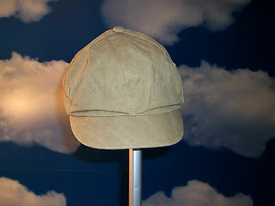 Mens Tan Beige Canvas Timberland Newsboy Cabbie Golf Cap Hat Size Medium