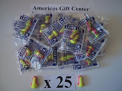 Earplugs 25 Pair Howard Leight Laser Lite Individually Wrapped Nrr 32db