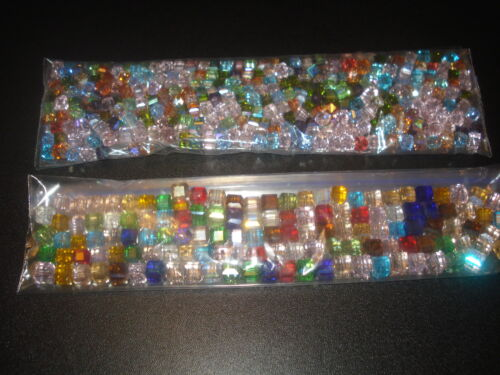 45 BEADS,MIXED SIZE & COLOR CUBE SWAROVSKI CRYSTAL BEADS 4MM&6MM(USA SELLER)CC5/