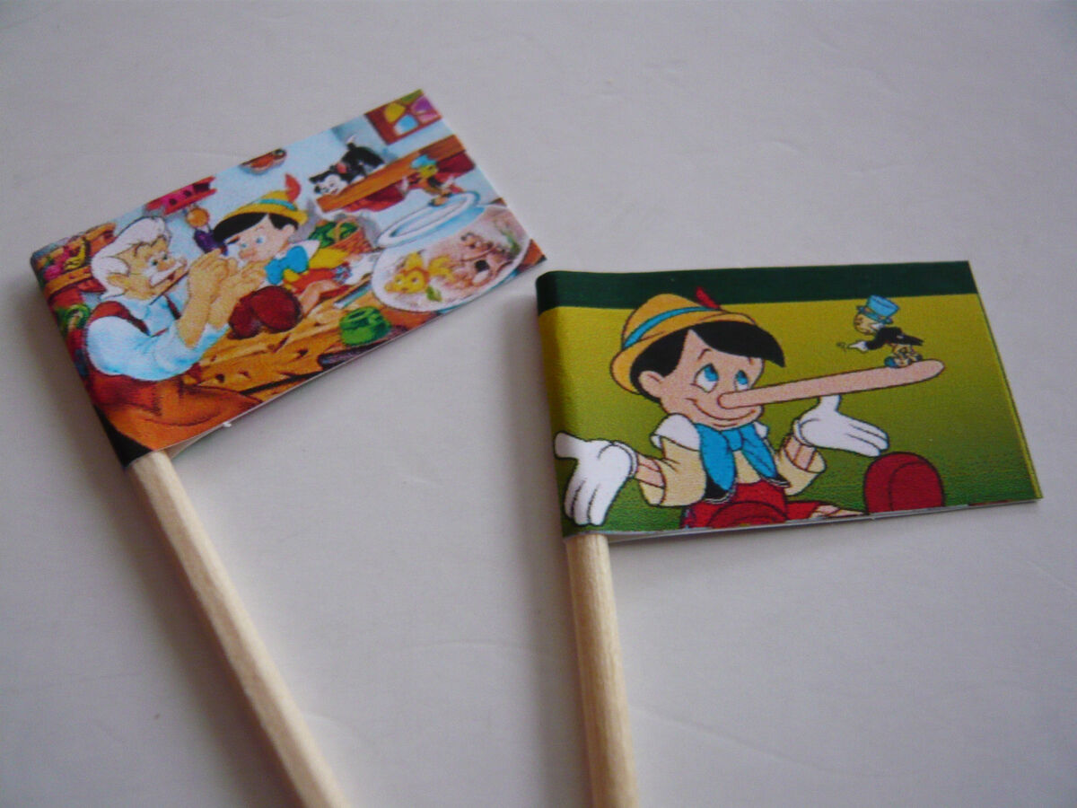 20 Cupcake Flags Toppers Pinocchio Childrens Birthday Party