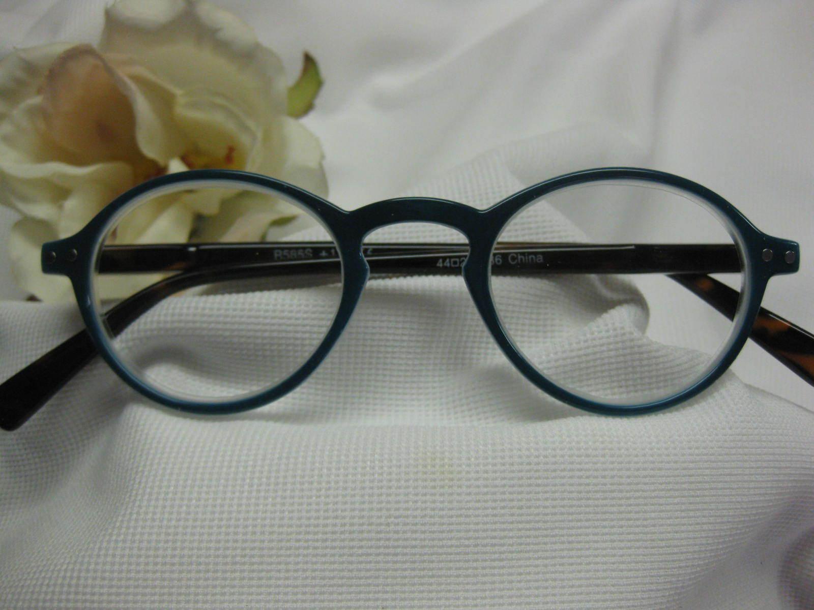 Oliver Round Blue Spruce Hornrim Retro Spring Temple Reading Glasses +1.25