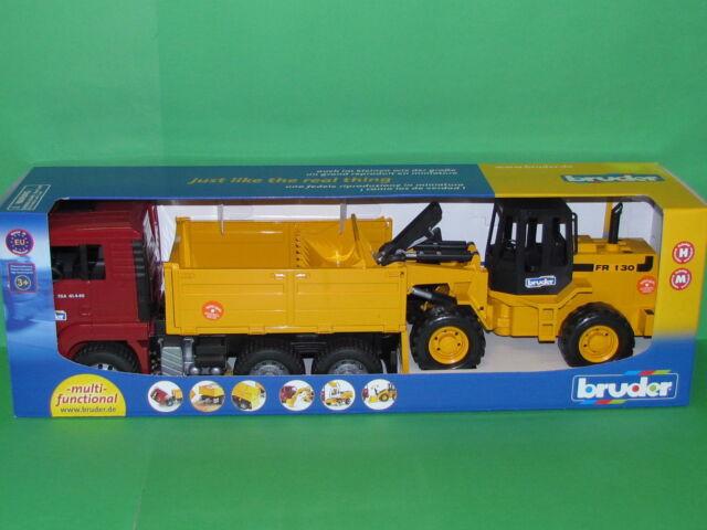 Bruder 02752 MAN TGA Kipplastwagen und Gelenkradlader FR 130 Blitzversand