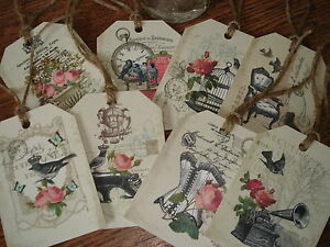 8 Vintage Shabby Chic Tags Amp Twine Ideal For Wedding Favours Card Toppers Etc