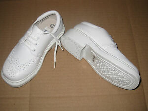 BOYS-WHITE-LEATHER-LIKE-WINGTIP-OXFORDS-Dress-or-Formal-SIZES-10-5-to-3-NEW