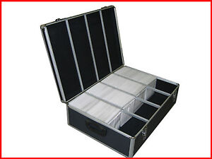 1000 CD DVD Aluminum Like Storage Case Black Holder Box with Hanger Sleeves