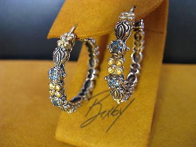 Barbara Bixby Earrings He Couture Topaz 18k Ss Hoop Flower Designer Gift