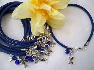 1 DZ. COLON CANCER AWARENESS/CHILD ABUSE PREVENTION  'RUBBER'  BRACELETS