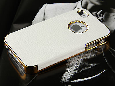 White Chrome Genuine Leather Hard Case Cover For iPhone 4S 4 4G Screen Protector on Rummage