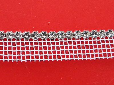 6 Yards Rhinestone Trim Crystal Silver-white Netting
