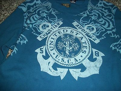Christian Audigier Mens Xl Thermal Shirt Long Sleeve Ls Blue