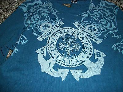 Christian Audigier Mens Xl Thermal Shirt Long Sleeve Ls Blue