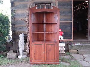 Vintage Wooden Pine Corner Hutch Cabinet