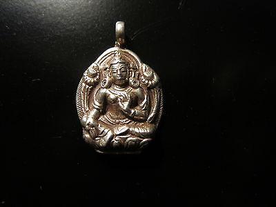 Green Tara 925 Sterling Silver  (goddess of compassion)Pendant handmade in Nepal