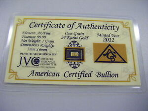 ACB Mint - .999 24K SOLID GOLD BAR - 1 TROY GRAIN - FINE GOLD