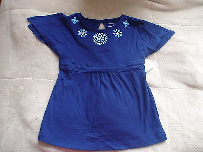 Gymboree Greek Isle Style Navy Blue Floral Top Shirt Small 5-6