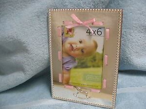 Keepsake-Baby-Silver-Picture-Frame-with-Pink-Ribbon-4-X-6-Photo-Rocking-Horse