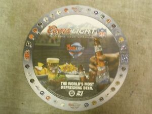COORS LIGHT BEER TRAY WITH NFL TEAM LOGOS PAPER INSERT
