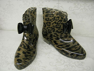 Ladies X1184 Funky Leopard Print Ankle Pvc Wellies With Bow