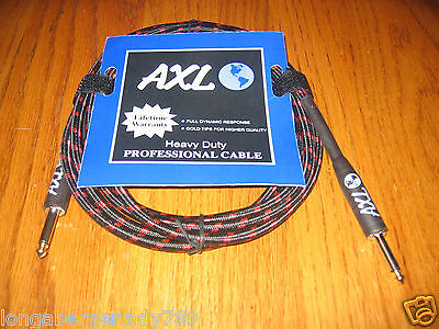 BLACK RED TWEED  10' PROFESSIONAL GUITAR CABLE CORD ELECTRIC ACOUSTIC BASS MUSIC