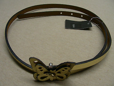 Mossimo Golden Butterfly - L Size - 3/8 Faux Leather Belt Waist Size 35 Inches