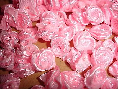 kleine Satinrosen rosa 10 Stück