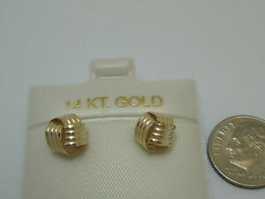 14KT-YELLOW-GOLD-LIGHT-LOVE-KNOT-POST-EARRINGS-NEW
