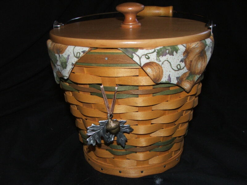 Beautiful Fall Longaberger Sage Autumn Pail Basket 2002 Combo