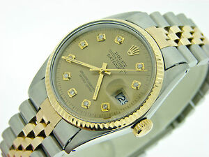 Mens Rolex Two-Tone 18k Yellow Gold/SS Datejust Date Watch w/Gold Diamond Dial
