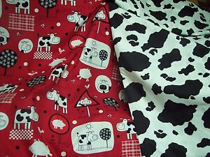 Novelty-Kidz-red-cow-and-cow-spots-100-cotton-fabric-quilt-twill-weights-1-yd