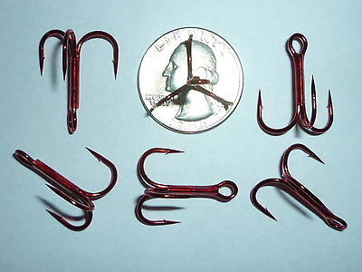 25 Gamakatsu Regular-shank 1x Treble Hooks - Size 4 - Red - Bulk
