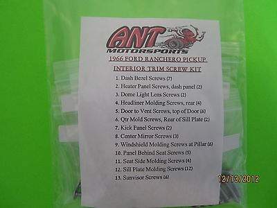 1966 Ford Ranchero Pickup Interior Screw Kit 61pcs.