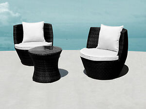 3pc STACKABLE Outdoor  Wicker Rattan Furniture Setting BLACK NEW