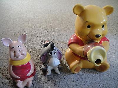 Disney Winnie the Pooh Ceramic Teapot, Eeyore Creamer, Piglet Sugar Bowl Set