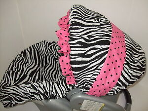 NEW-CUTIE-PIE-ZEBRA-RUFFLED-INFANT-CAR-SEAT-COVER-Graco-fit-custom-size-avail