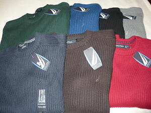 NEW-NWT-NAUTICA-MENS-RIBBED-SWEATER-SIZE-S-M-L-XL-CREW-SMALL-MEDIUM-LARGE-EXTRA
