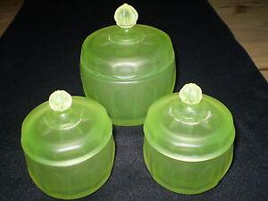 3-VINTAGE-DANISH-RETRO-JEWELLERY-GREEN-GLASS-TRINKET-JARS-1960-CIRCA