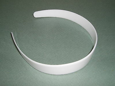"""WHOLESALE LOT 108 White Plastic HEADBANDS 1"""" Wide Tapered NO TEETH  Free US Ship"""