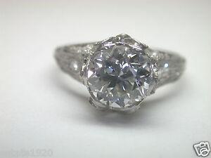 Antique Diamond Engagement Ring Platinum Fine Art Deco Vintage Estate Wedding