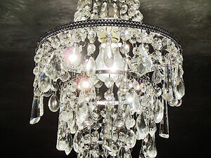 CHANDELIER LIGHT PENDANT SHADE SHABBY CRYSTALS DAZZLE GLASS BEAD CHIC ON CHROME