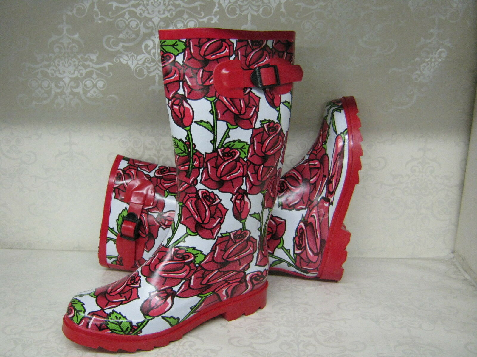 Ladies X1042 Funky White With Red Rose Print Wellies