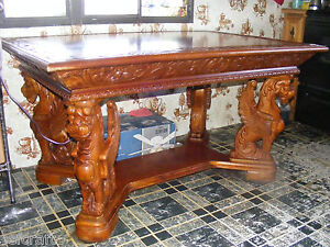 ANTIQUE-VICTORIAN-1890-s-R-J-HORNER-FULL-FIGURAL-MAHOGANY-LIBRARY-GRIFFIN-TABLE