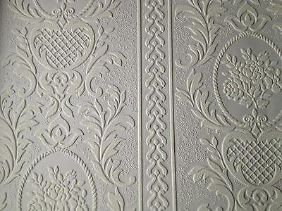 Papier peint relief souffl blanc vinyle grand rayures for Papier peint blanc relief