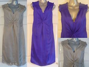 NEW-ladies-silk-dress-by-PIED-A-TERRE-in-cobalt-blue-or-oyster-Sizes-8-10-12
