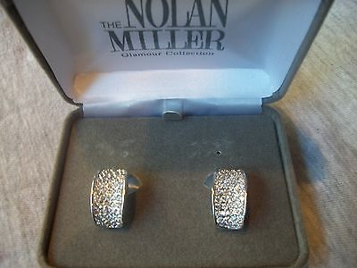 Nolan Miller Signed Dazzling Big Silvertone Crystal Clip Ons Great Gift