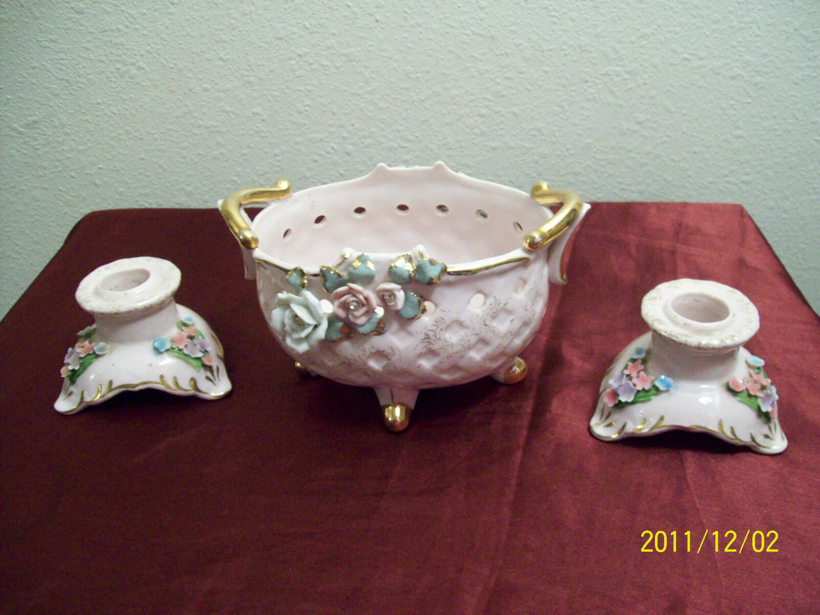 2 vintage pink Lefton candle holders and a planter..aplied flowers & gold trims/
