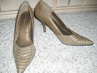 Euc Charlotte Russe Faux Crocodile High Heel Shoes Greenish Brown Gold Size 8 M