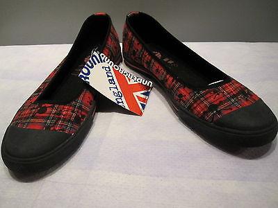 Underground England Shoes Red Plaid Tartan Sneakers Jolly Roger Ska Uk7 Us9