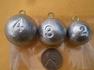 30 Cannon Ball Sinkers, 2, 3, 4, Oz. 10 Each, Good Quality From Do-it Mold