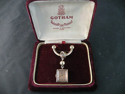 Art Deco, 1920's Watch Pin/Brooch w/Hanging 12K GF Gotham Watch + original box